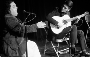 """With singer/composer Pirouz Ebadypour at """"Soñador"""" CD release concert at the Hoover Auditorium, San Jose."""