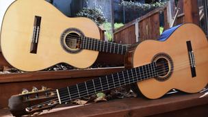 Glenn Canin 2010 Classical (front) and 2014 Flamenco (back) guitars