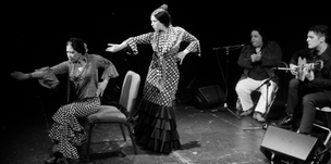"""With dancers/choreographers Melizza Cruz (seated) and Bianca Rodriguez (standing) at """"Soñador"""" CD release concert at the Hoover Auditorium, San Jose."""