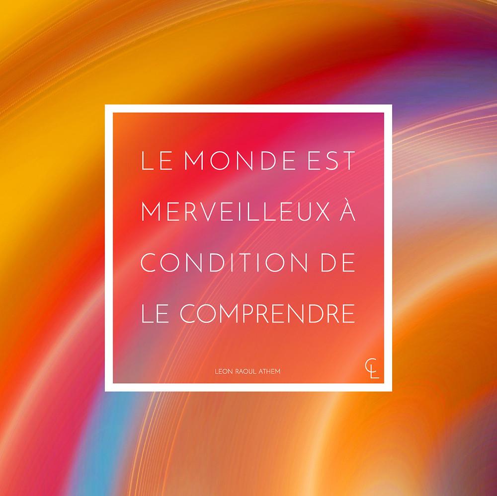 Le monde est merveilleux à condition de le comprendre. Léon Raoul Hatem.