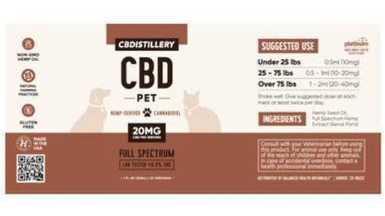 CBDistillery - CBD Pet Tincture - Full Spectrum - 600mg