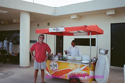 Jay French at a pop-up Hot Dog stand at Live Aqua Cancun