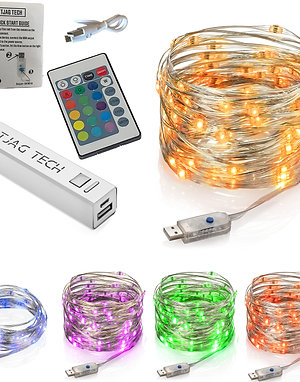 LED Color Changing Firefly Light String (15 ft) plus USB Portable Battery Pack 2