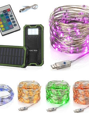 LED Fairy Lights (15 ft) + 2 Output USB Solar Battery Pack 10000 mAh – Multicolo