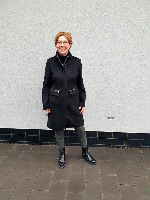 Zwarte Wollen Mantel Giacomo
