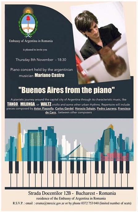 Joi, concert solo la ambasada Argentinei