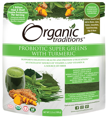 Probiotic Super Greens With Tumeric-Organic Traditions