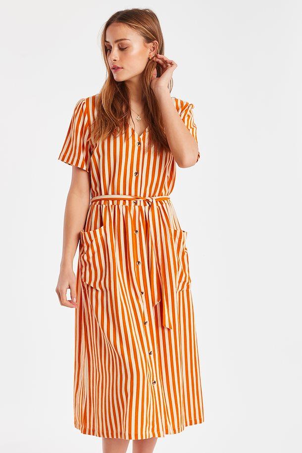 Vestido listas naranja botones Ichi Ihju
