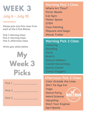 Week 3 - Day Camp Pick Classes