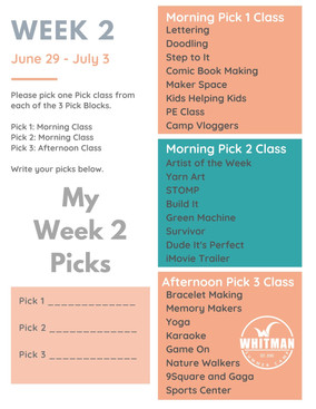 Week 2 - Day Camp Pick Classes