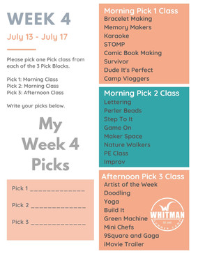Week 4 - Day Camp Pick Classes