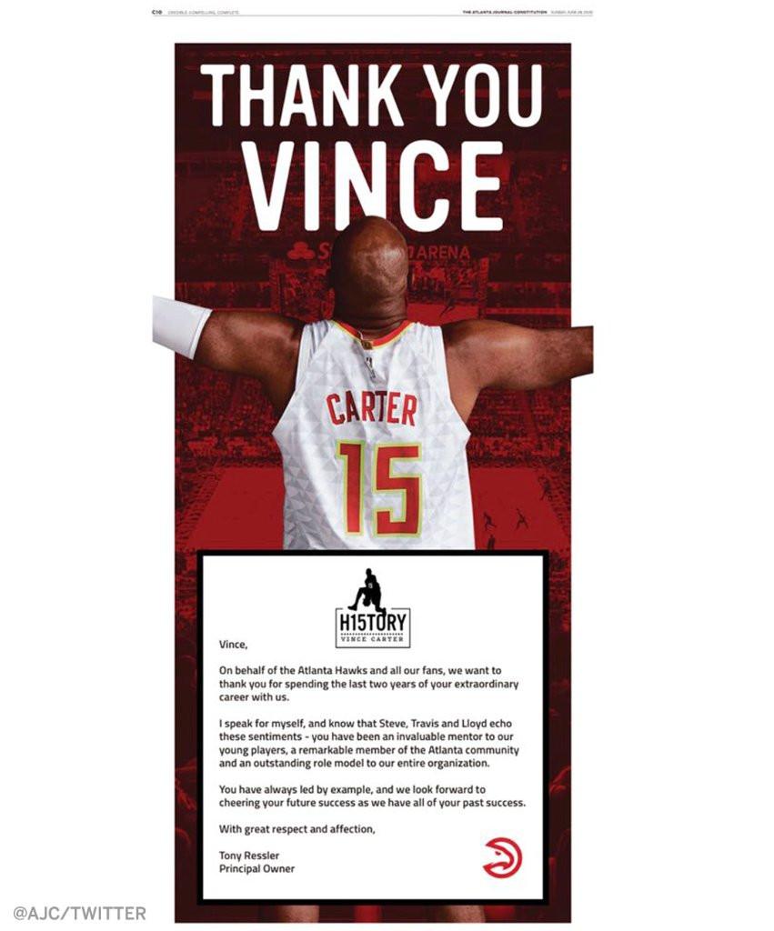 Toàn bộ trang báo mà Atlanta Hawks gửi tặng Vince Carter |JP88