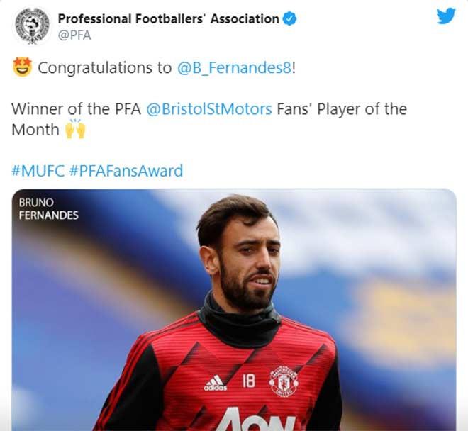 Fernandes nhận giải xuất sắc nhất tháng của PFA do fan bầu chọn |JP88