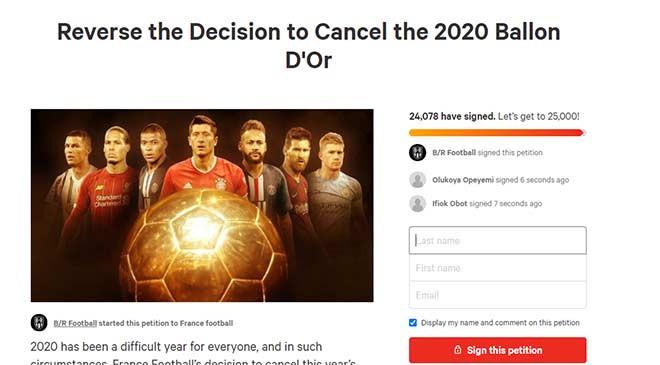 Kiến nghị yêu cầu France Football thay đổi quyết định hủy trao Quả bóng Vàng 2020