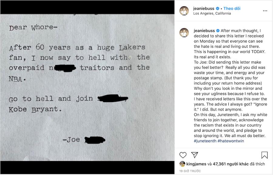 Bức thư và lời chia sẻ của bà Jeanie Buss trên Instagram |JP88