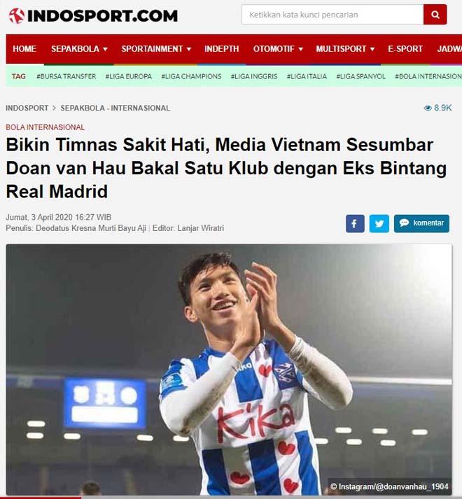 Indo Sport dùng nhiều từ ngữ nặng nề khi nói về Văn Hậu. |JP88