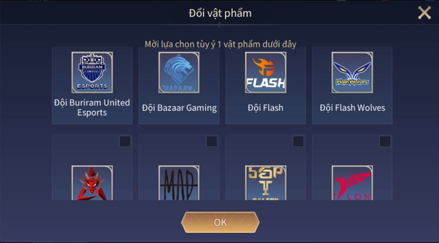 Game thủ dự đoán bằng cách chọn 1 Logo đội tuyển trong Rương khung viền.