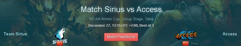 Nhận định Sirius vs Access – Dota 2 – 13h15 – 27/12/2020
