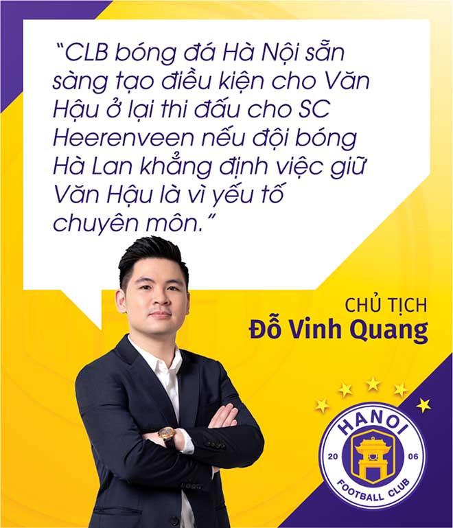 Chủ tịch Đỗ Vinh Quang của CLB Hà Nội lên tiếng về vụ Đoàn Văn Hậu. Ảnh: CLB Hà Nội |JP88