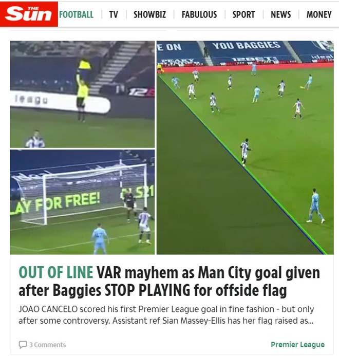 Tờ The Sun nhận định bàn thắng của Man City vào lưới West Brom gây tranh cãi