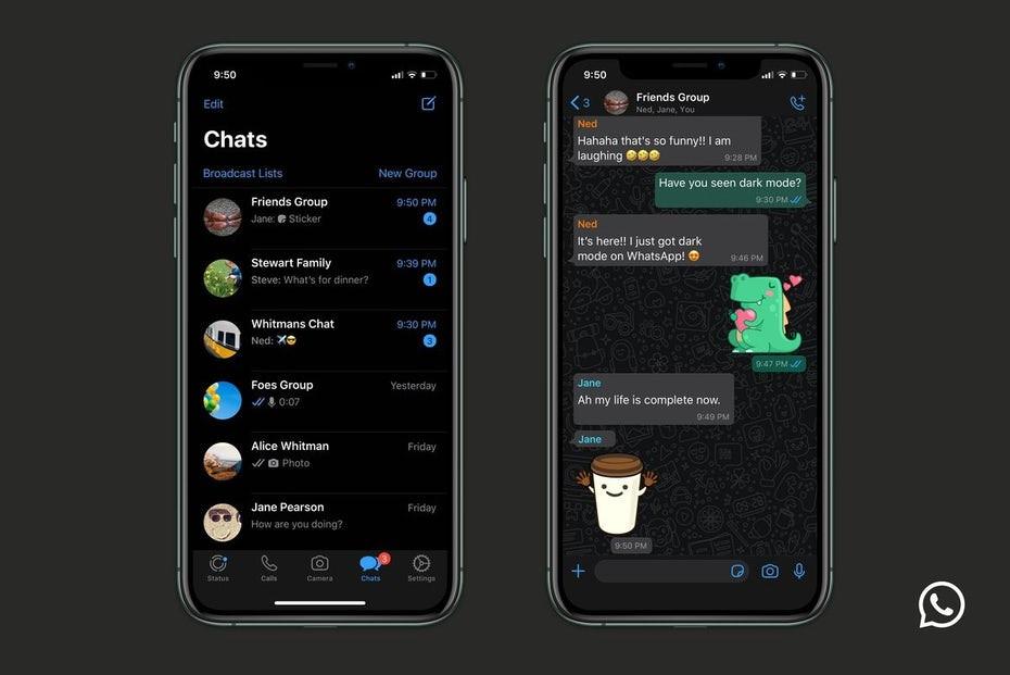 WhatsApp on desktop dark mode UI via What's App
