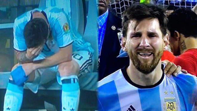 Messi khóc nức nở tại Copa America 2016.  JP88