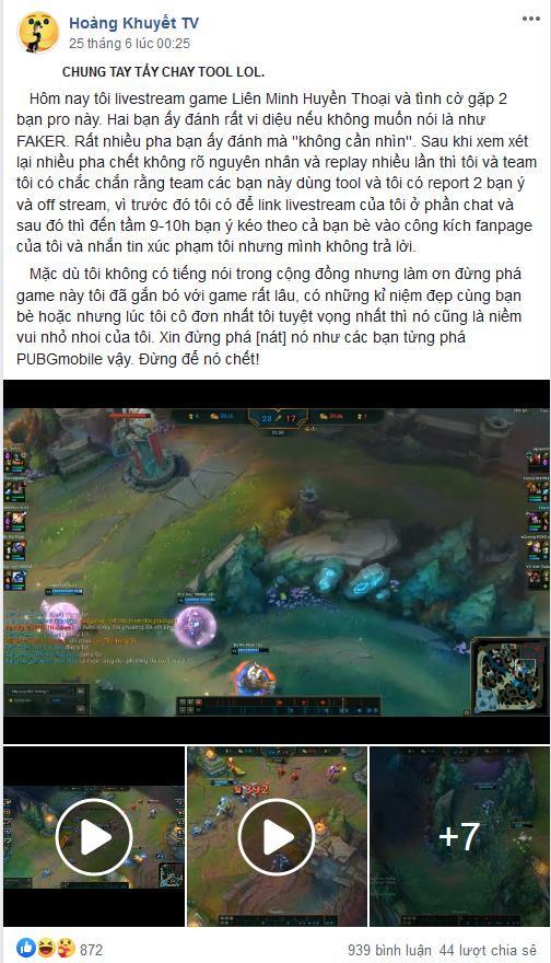 Hoàng Khuyết TV đăng bài lên group mong cộng đồng game thủ tìm lại công bằng cho mình  JP88