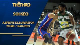 Kèo bóng rổ – Anadolu Efes vs Frutti Extra Bursaspor – 21h00 – 19/1/2021