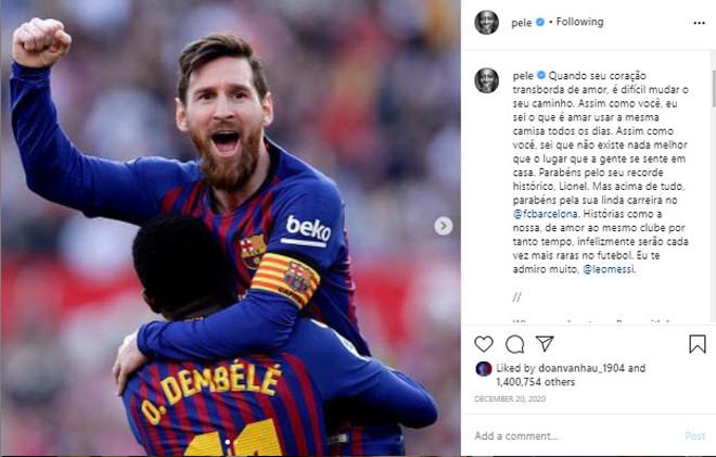 Pele gửi lời chúc mừng tới Messi