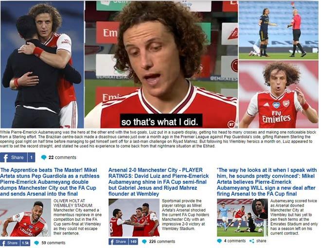 Arsenal được tờ DailyMail ca ngợi sau chiến thắng trước Man City  JP88