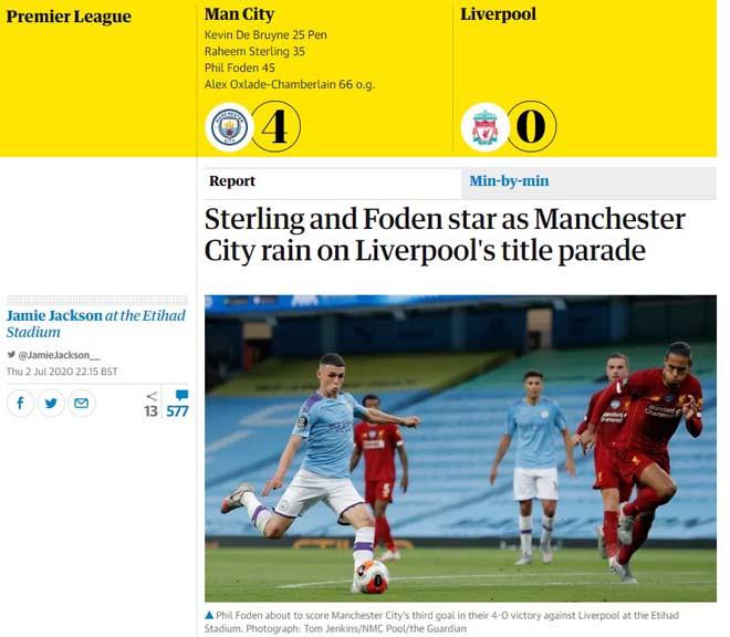 Ký giả Jamie Jackson của Guardian thất vọng với Liverpool |JP88