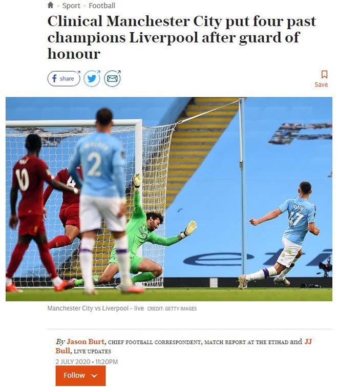 Telegraph khen ngợi màn trình diễn của các cầu thủ Man City |JP88