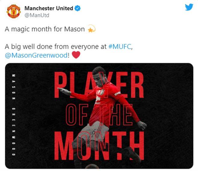 Mason Greenwood được fan MU bầu chọn là Cầu thủ xuất sắc nhất tháng của CLB |JP88