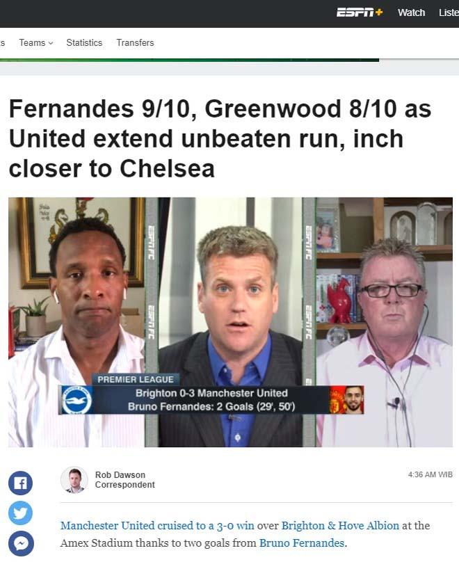 ESPN chấm Bruno Fernandes 9 điểm, Greenwood 8 điểm |JP88
