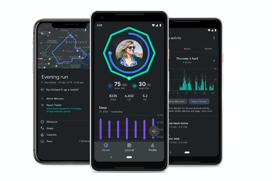 Google Fit dark mode UI via The Verge