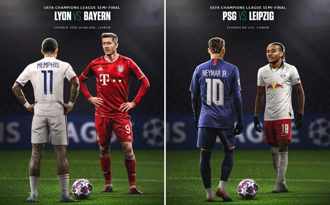 Hai cặp bán kết ở Champions League mùa này: Lyon gặp Bayern Munich và PSG đối đầu RB Leipzig