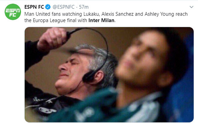 Biếm họa của tờ Bleacher Report về MU và Inter Milan tại Europa League |JP88