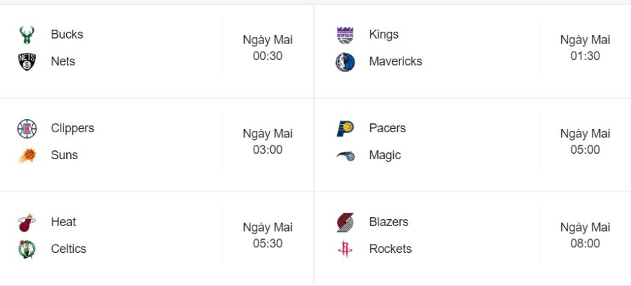 Lịch thi đấu NBA ngày 5/8 |JP88