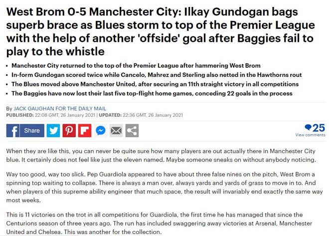Daily Mail lo ngại cho MU trước sức mạnh của Man City
