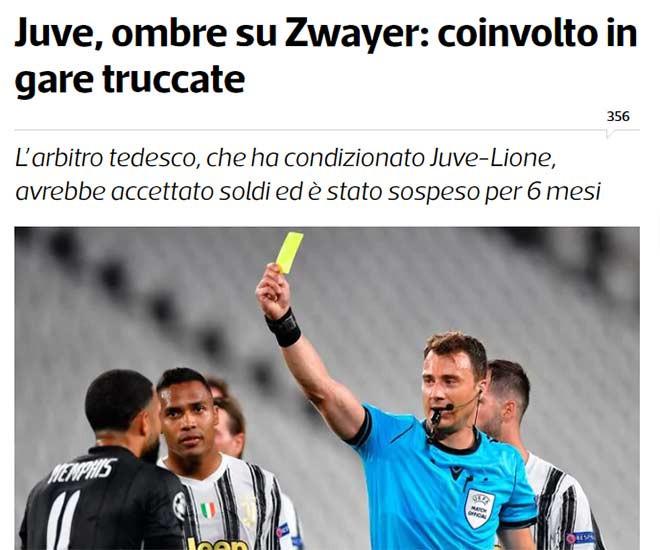Tuttosport viết về vụ scandal làm độ của trọng tài Felix Zwayer |Vua-the-thao