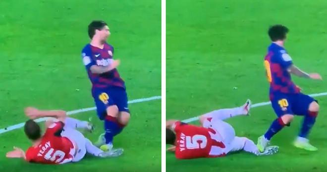 Messi có tình huống giẫm chân đối thủ vô cùng nguy hiểm |JP88