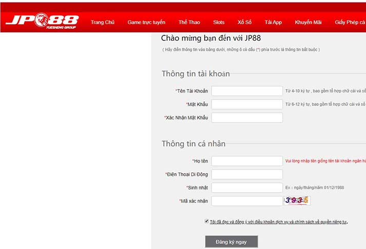 Giao diện đăng ký tài khoản tại JP88.  JP88