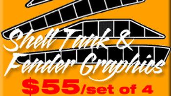SHELL TANK & FENDER GRAPHICS / SET OF 4