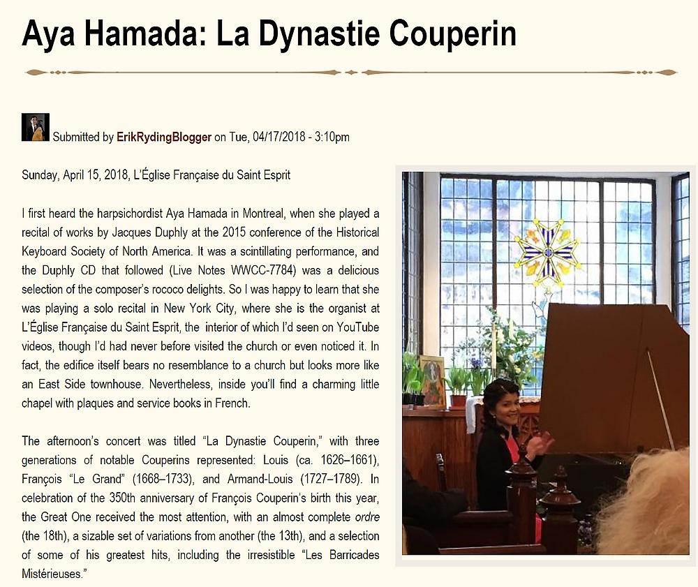 Review of La dynastie Couperin (CapriccioBaroque.org))