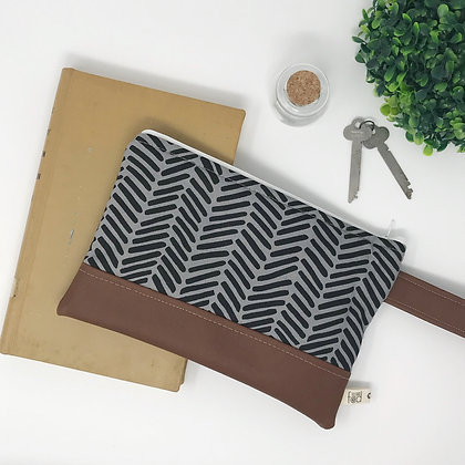 Gray Herringbone | Mini Wristlet