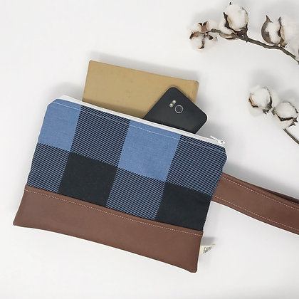Blue Plaid | Mini Wristlet