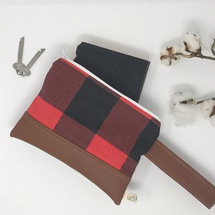 Red Plaid | Mini Wristlet