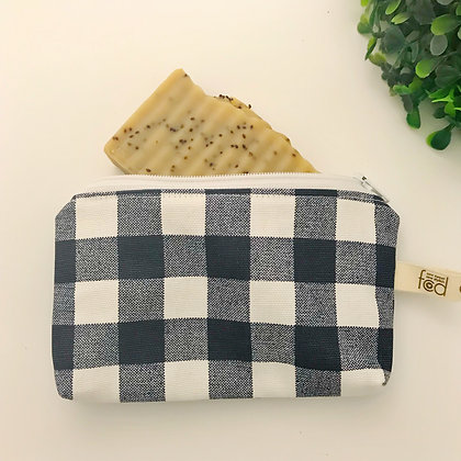Small Zipper Pouch - Navy Check