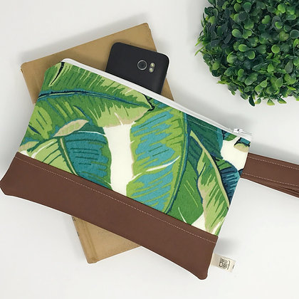 Wholesale Mini Wristlet - Opal Palm Leaf
