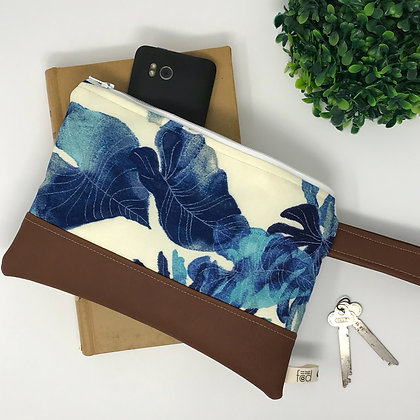 Indigo Palm | Mini Wristlet
